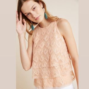 NEW Anthropologie Tiered Lace Blouse Peach Top